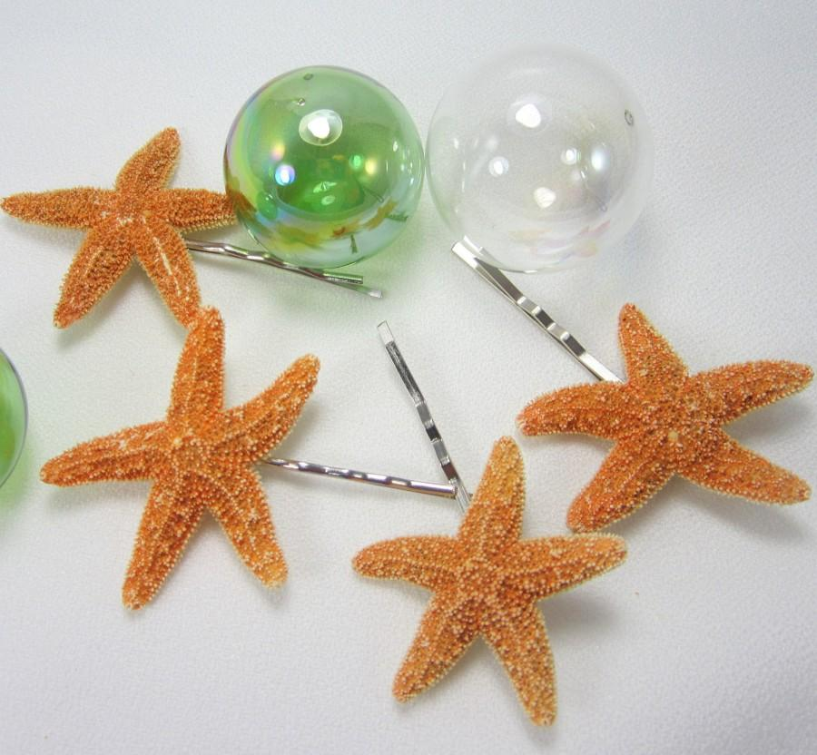 Wedding - Starfish Barrettes, Beach Wedding Hair Accessories, Starfish Barettes, Nautical Wedding Starfish Hairpins - Starfish Bobby Pin 4pc-