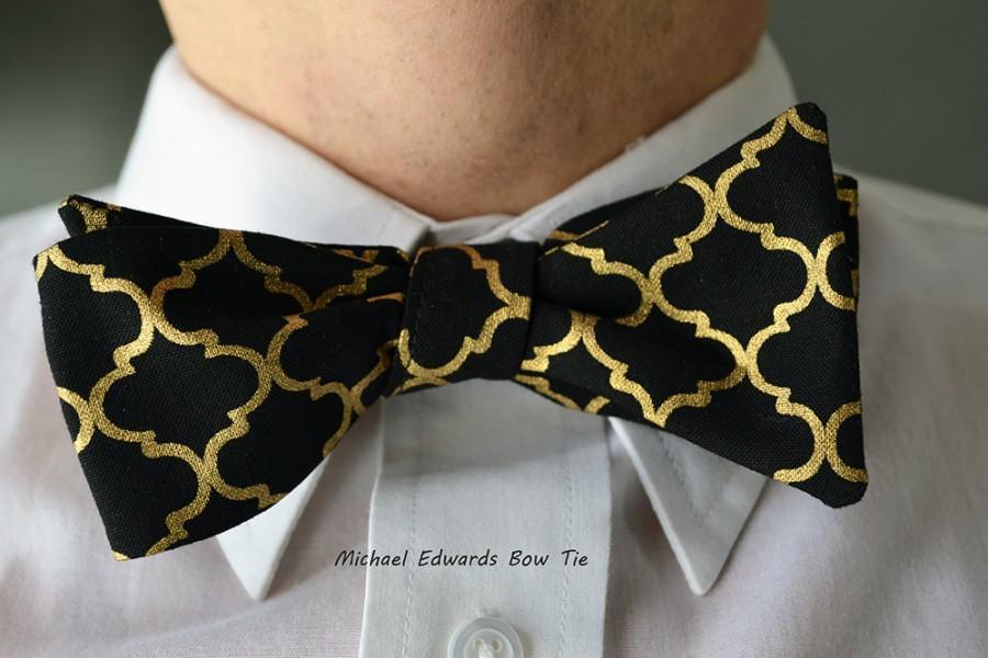 Mariage - Black Metallic Bow Tie, Black Gold Bow Tie, Freestyle Bow Tie, Self Tie Bow Tie, Mens Black Bowtie, Mens Black Bow Tie,  Wedding Bow Tie,