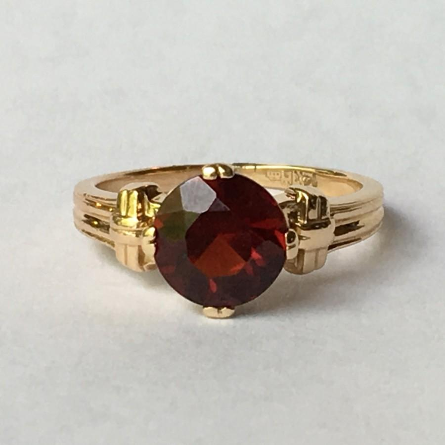 vintage garnet ring in 14k yellow gold unique engagement ring