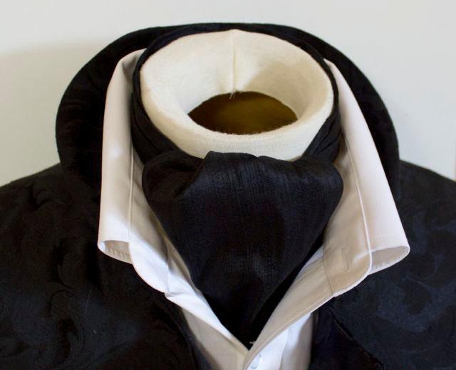 Mariage - Midnight Black Dupioni SILK - DAY Cravat Victorian Ascot Tie Cravat