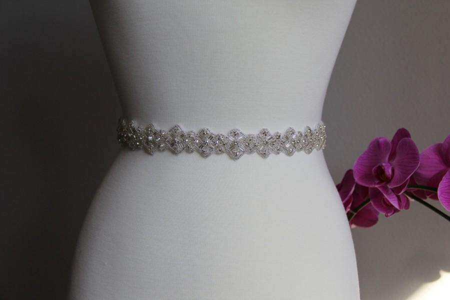 Свадьба - 16 to 36 in rhinestone applique, rhinestone trim bridal sash, wedding sash, bridal headband, wedding headband,  bridal belt, rhinestone belt