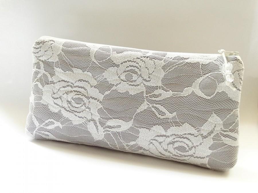 زفاف - Ivory Lace Wedding Clutch, Ivory Roses on Silver Gray Clutch, Bridesmaid Lace Clutch, Prom Bag