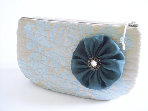 Mariage - Fall fashion Clutch, Blue Wedding Clutch, Clutch with Flower, Garden Party Handbag