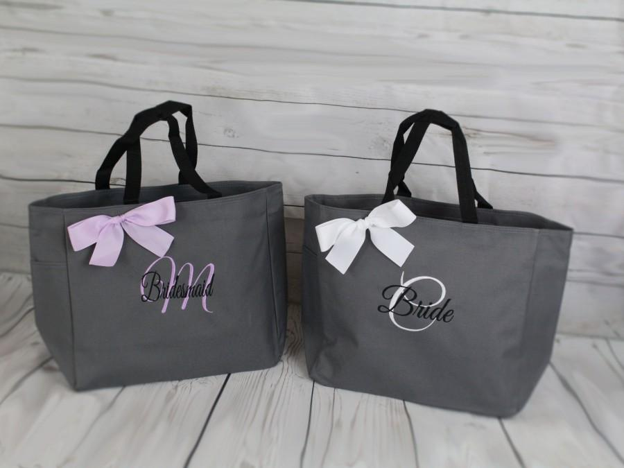 Свадьба - 7  Bridesmaid Gift- Personalized Bridemaid Tote - Wedding Party Gift - Maid of Honor-Personalized Bridesmaid Gift Tote Bag