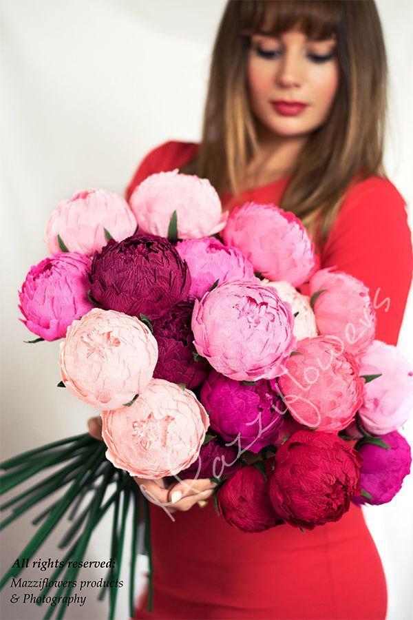 Hochzeit - Wedding flowers,wedding bouquet,wedding peonies,paper flower bouquet,ivory peonies,paper flowers,bridal flower,peonies bouquet,