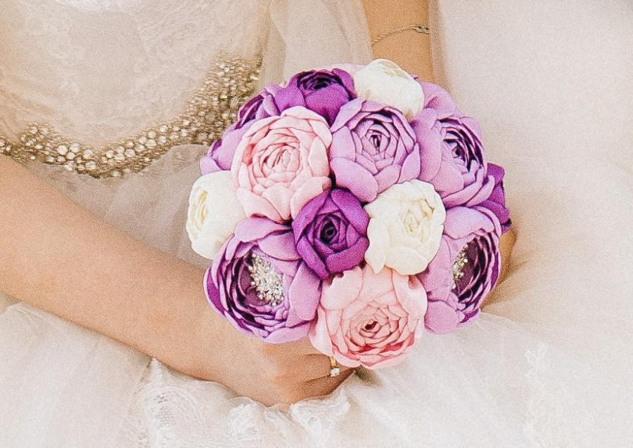 Hochzeit - Wedding brooch bouquet, Handmade, Fabric Bridal Bouquet,peonies, purple, pink, ivory