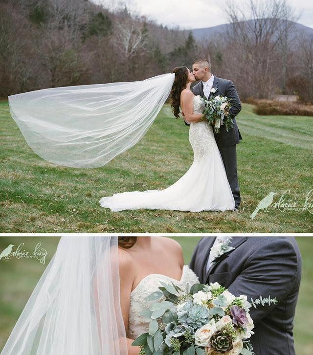 Wedding - Bridal veil, chapel veil, cathedral veil, floor length veil, waltz veil, simple veil, elegant veil, classic veil, plain veil, sheer veil