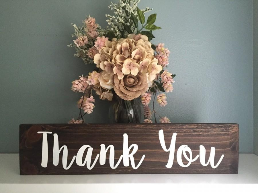 Wedding - Rustic Wedding Thank You Sign / Wood Sign Rustic Wedding Decor / Just Married Thank You Sign Country Wedding Photo Prop