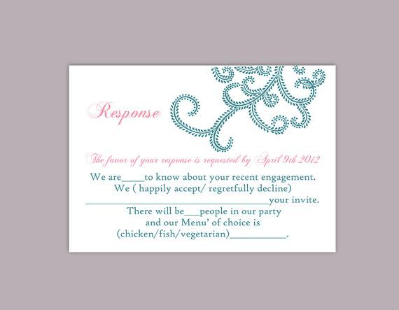 Mariage - DIY Bollywood Wedding RSVP Template Editable Word File Instant Download Rsvp Printable RSVP Cards Blue Rsvp Template Elegant Rsvp Card