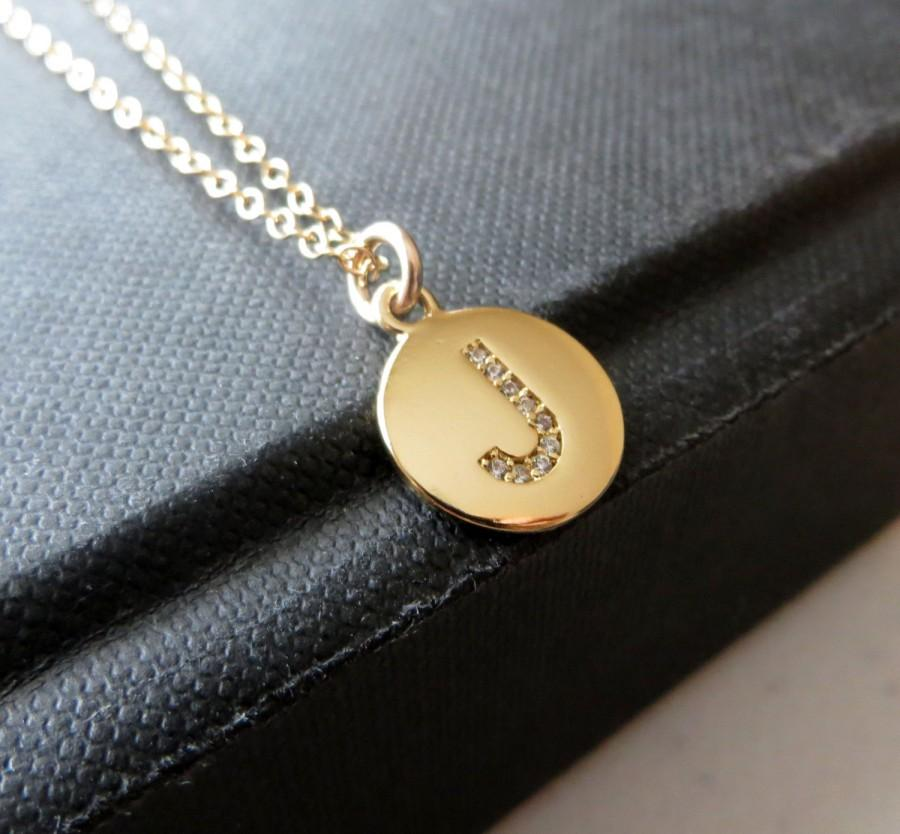 Hochzeit - Personalized Bridesmaid gift, Diamond initial necklace, gold Rhinestone initial charm, bridal party, celebrity style wedding