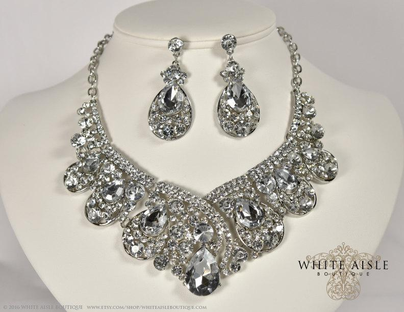 Hochzeit - Bridal Jewelry Set, Crystal Statement Necklace Earrings, Vintage Inspired Rhinestone Necklace, Wedding Jewelry