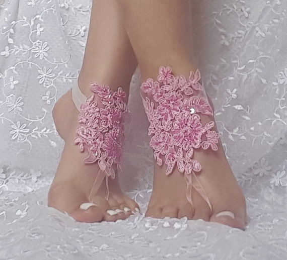 Wedding - Free ship pink beaded beach wedding barefoot sandals wedding shoe barefoot sandles prom party steampunk bangle beach anklets bridesmaid