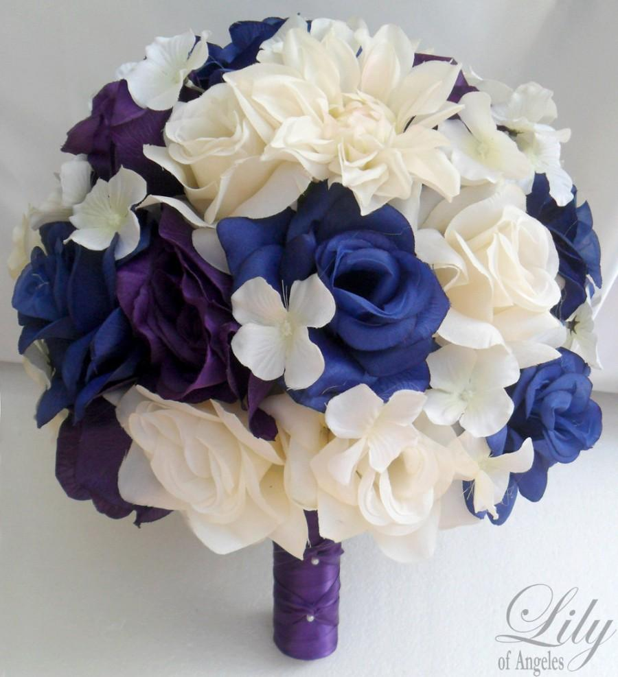 "Wedding - 17 Piece Package Wedding Bridal Bride Maid Bridesmaid Bouquet Boutonniere Corsage Silk Flower BLUE PURPLE WHITE ""Lily Of Angeles"" PUBL01"