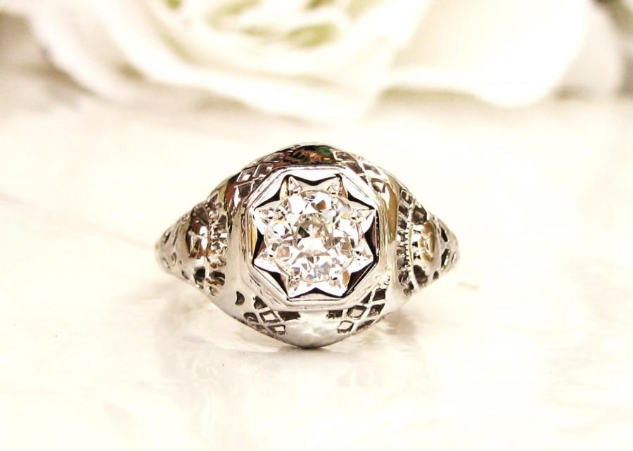 Hochzeit - Antique Edwardian Engagement Ring Star Set 0.50ct Old European Cut Diamond Wedding Ring 18K White Gold Filigree Antique Diamond Ring Size 5