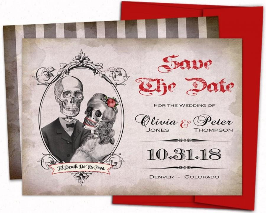 Skull Save The Date Gothic Invitation Calaveras Save The Date