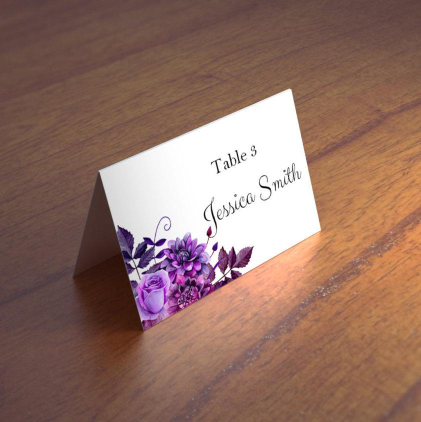 Mariage - Purple wedding name cards templates Boho wedding place cards printable Escort cards Flower place cards Floral wedding Blank place cards 1W38