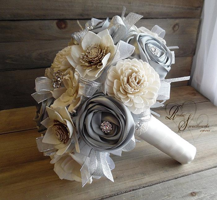 Mariage - Ready to Ship ~~~ Rustic Winter Bridal Bouquet Large, Sola Flowers, Silver Satin Ribbon Roses, Rhinestones