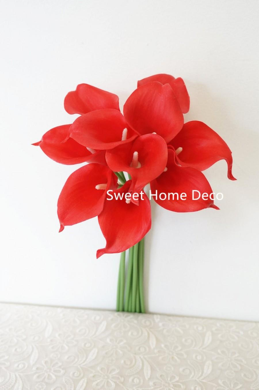 "Mariage - JennysFlowerShop 15"" Latex Real Touch Artificial Calla Lily 10 Stems Flower Bouquet for Wedding/ Home Red"