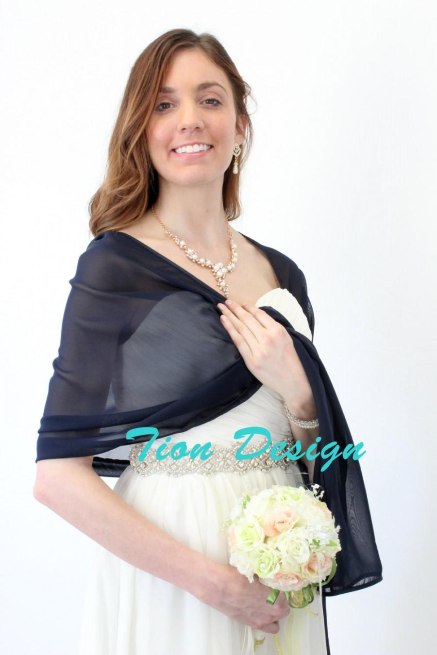 Свадьба - Navy Blue Chiffon Shawl, Bridal wrap, Bridal Stole Scarf Evening Wrap, Chiffon Bridal Shrug #7139