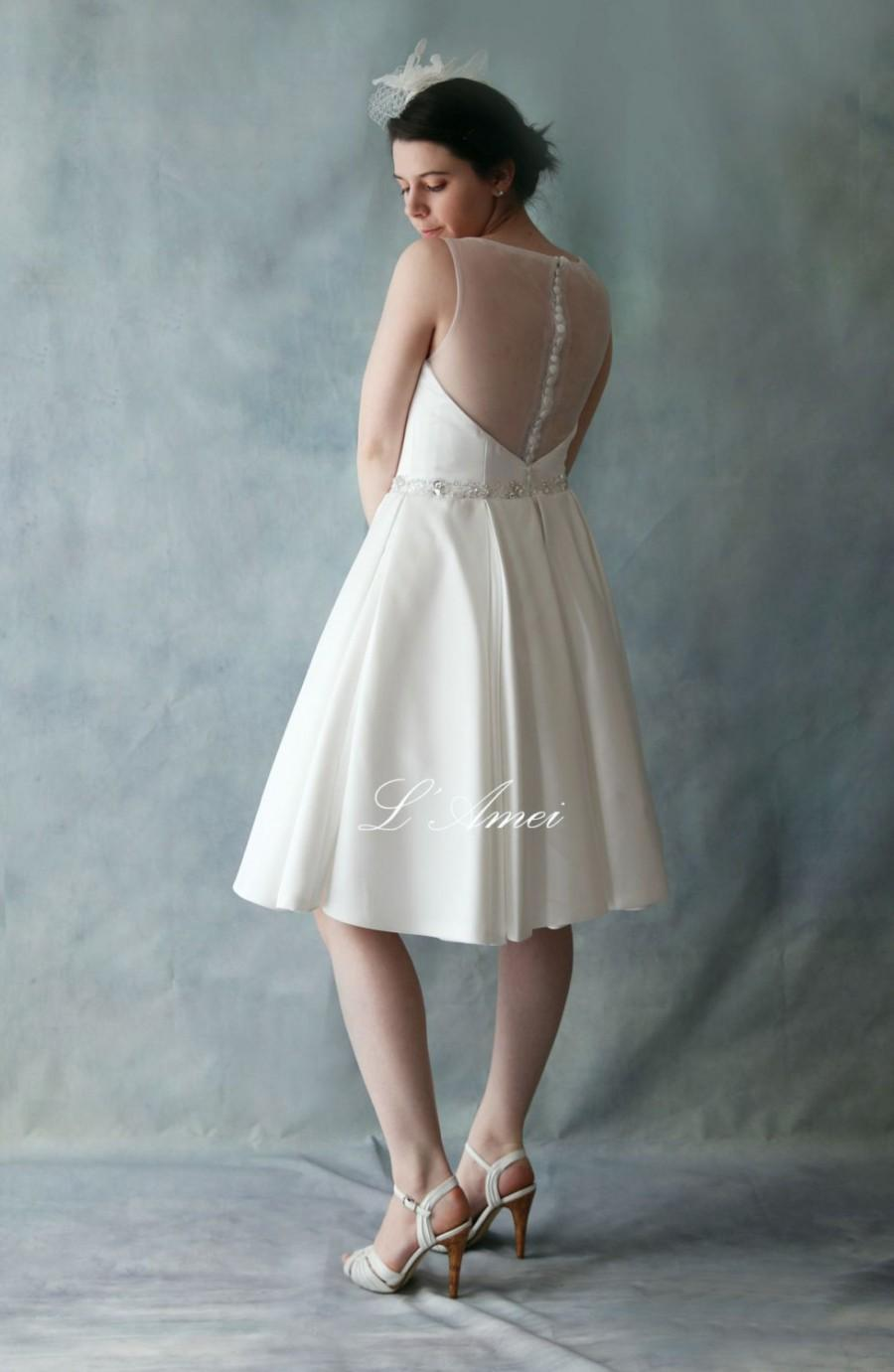 Short Satin Sheer Back Wedding Mini Dress With Bling Sash - Great ...