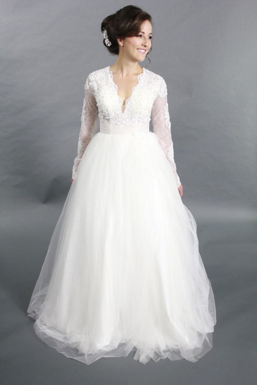 Wedding - Long Sleeves Lace Applique Ballgown V neck wedding dress