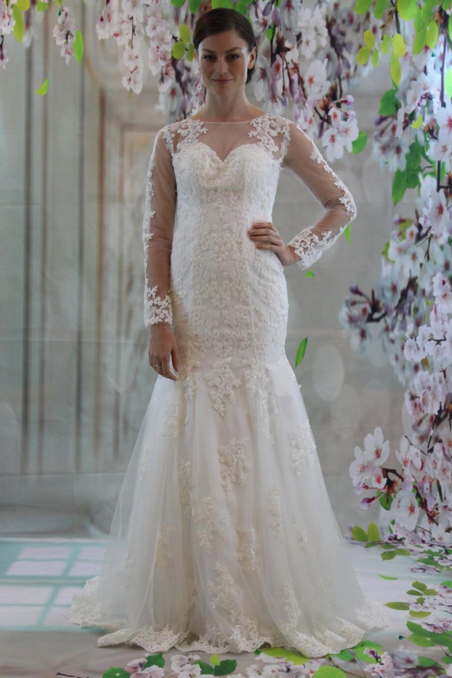 Wedding - Sweetheart long sleeves white lace court train mermaid see through back wedding dress
