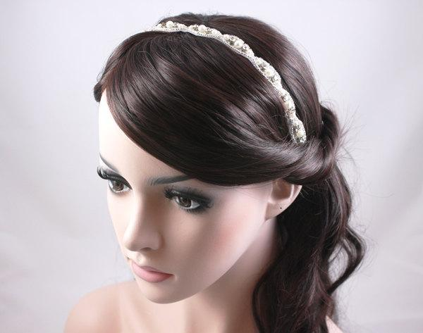 Mariage - RAMONA - Vintage Inspired Crystal And Pearl Bridal Headband, Wedding Rhinestone Head band, Bridal Headpiece, Halo, Bohemian