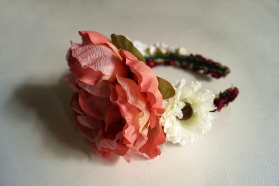 Mariage - peony wedding wreath, Floral Headband,  Bridal Crown, Flower Crown, Rustic Headband, Floral Head Wreath, Hair Accessories, Handmade Fashion