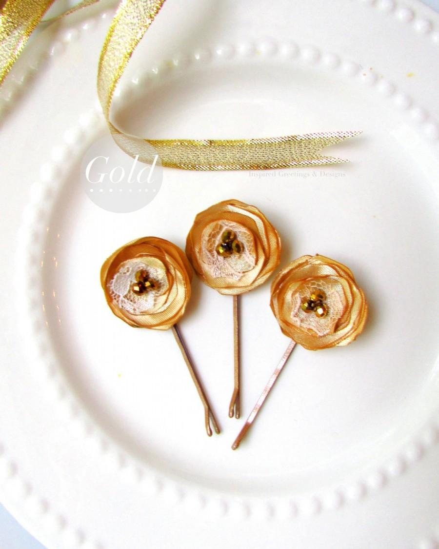 Mariage - 3 Gold Hair Pins Wedding Gold Flower Girl Hair Accessories, Simple Bridal Gold Hair Clip, Hairpin, Small Gold Silk Flower Bobby, Satin Lace