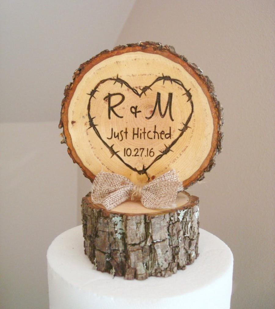 Rustic Wood Wedding Cake Topper, Just Hitched Cake Topper, Tree ...
