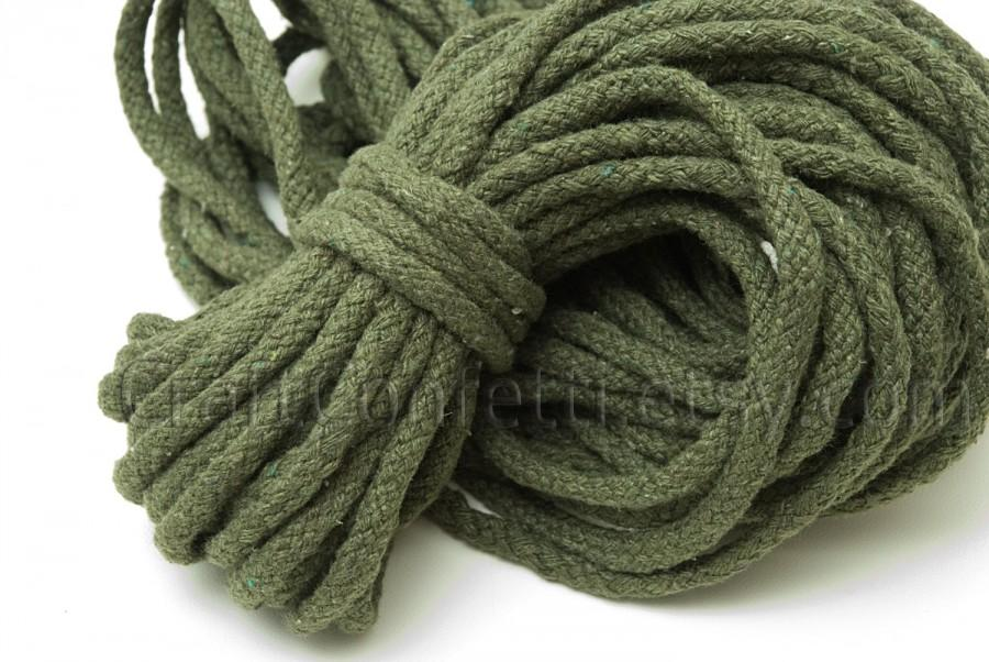Wedding - Green cotton rope 5mm Decorative rope  Khaki cotton cord 100% cotton cord Raw for crafts Braiding cord Drawstring rope Bulky yarn / 2 meters