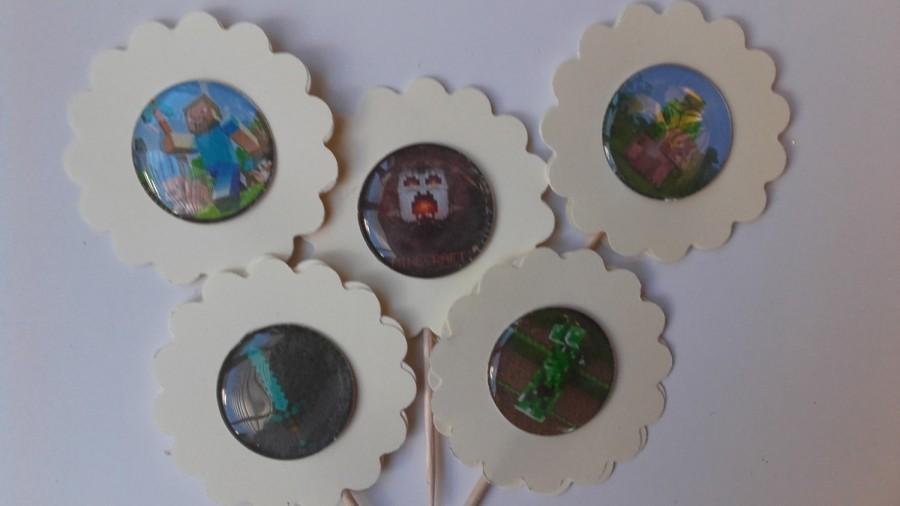 Hochzeit - 10/20 Cupcake Toppers, Mine Craft Birthday Cake Toppers, Mine Craft Inspired Cupcake Toppers,  Mine Craft Theme Party