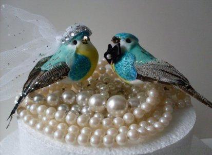 Wedding - Tres Chic Turquoise Blue Bird Wedding Cake Topper,  LJO Collection Design  We Ship Internationally