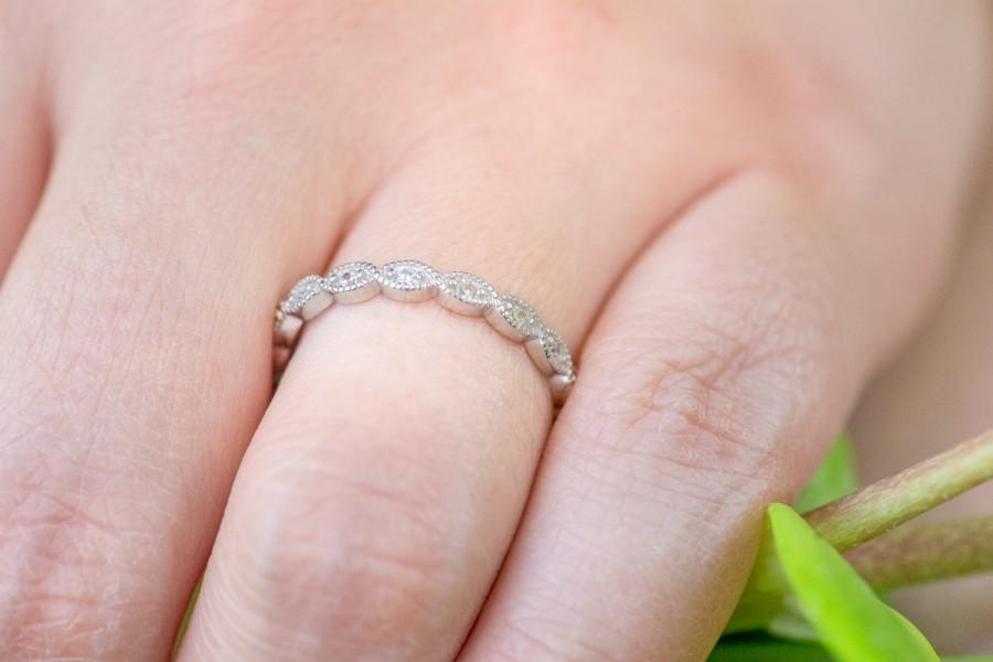 زفاف - Art Deco Wedding Band, Full Eternity Ring, Wedding Ring, Milgrain Ring, Marquise Ring, Diamond Simulants, Sterling Silver