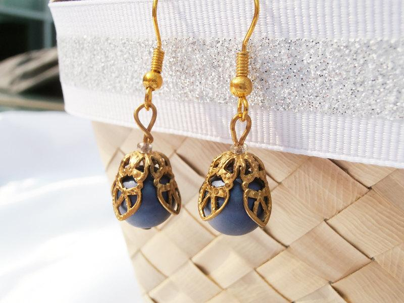 Blue Flower Earrings And Gold French Bead Beaded Dangle Bridesmaid Vintage