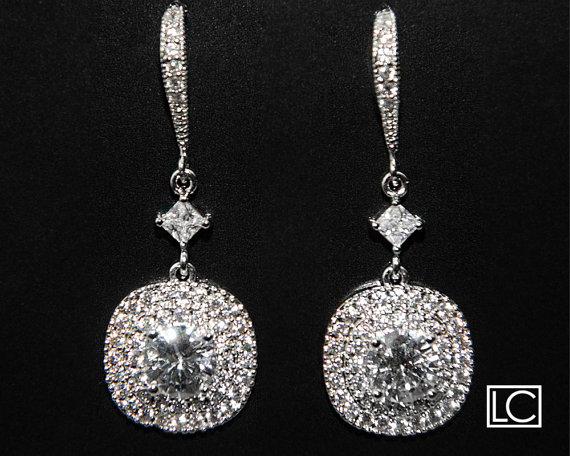 Wedding - Cubic Zirconia Bridal Earrings Chandelier Silver CZ Wedding Earrings Clear Cubic Zirconia Dangle Earrings Wedding Cubic Zirconia Jewelry