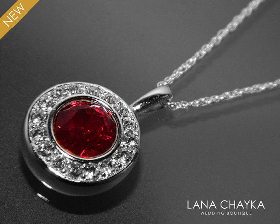 Wedding - Red Crystal Sterling Silver Necklace Swarovski Siam Dark Red Necklace Wedding Red Crystal Necklace Dark Red Bridal Necklace Bridesmaids