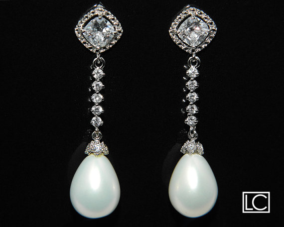 زفاف - White Teardop Pearl Cubic Zirconia Bridal Earrings Wedding Pearl Silver CZ Dangle Earrings Bridal Pearl Earrings Wedding Pearl Jewelry