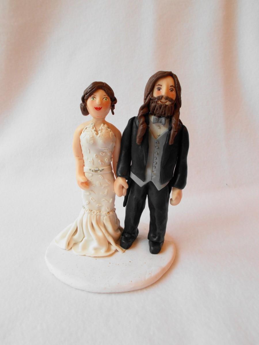 Mariage - Custom Wedding Cake Topper, Polymer Clay Wedding Cake Topper, Custom Wedding Figurine.  A Hand Crafted Art Sculpture.