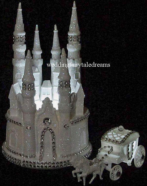 Wedding - Silver bling Lighted Cinderella Castle Fairy Tale Wedding Cake Topper & Carriage