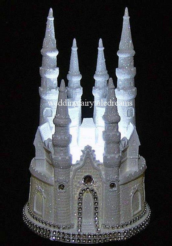 Wedding - White Glittered Lighted Cinderella Diamond Castle Wedding Quinceanera Cake Topper