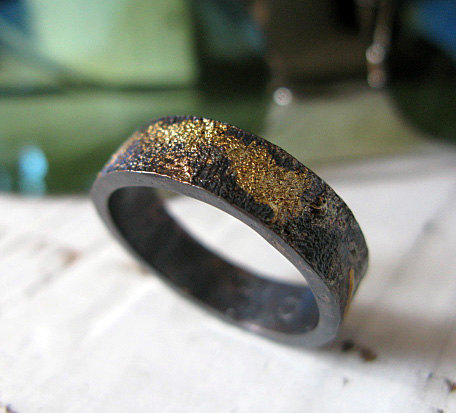Scorched Earth Mens Wedding Band Black Gold Ring Unique 6mm Commitment Distressed Handmade Artisan