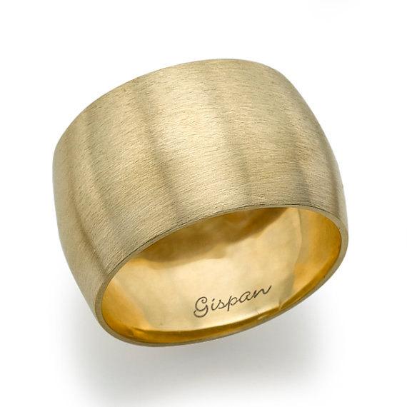 Wedding - 14k Matte brushed Gold Wedding Ring, Wedding Band, Yellow Gold Wedding Ring, Woman Ring, GIft, Gold Ring