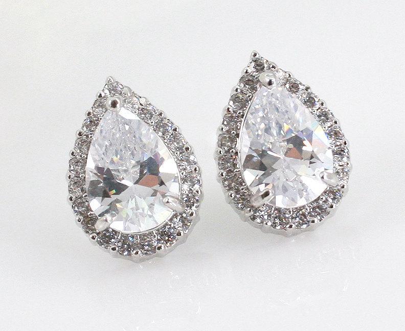 Adrienne Bridal Teardrop Earrings Cz Stud