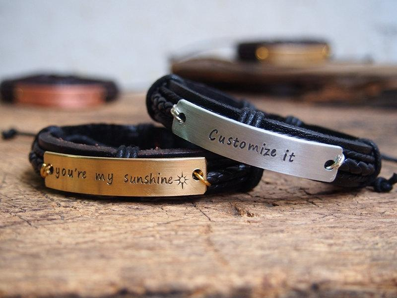 Свадьба - you are my sunshine bracelet, men's leather bracelet, personalized men's bracelet, Anniversary mens bracelet, Engraved men's unique bracelet