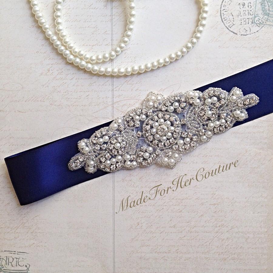 Navy bridal sash wedding dress sash wedding sash belt for Pearl belt for wedding dress
