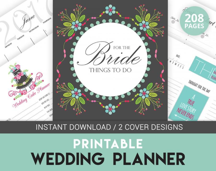 Digital Wedding Planner Book, Printable Wedding Organizer, Colorful ...