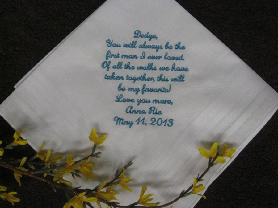 Hochzeit - Personalized Handkerchief Wedding for Dad or Step Dad from daughter - Bride to Father of Bride
