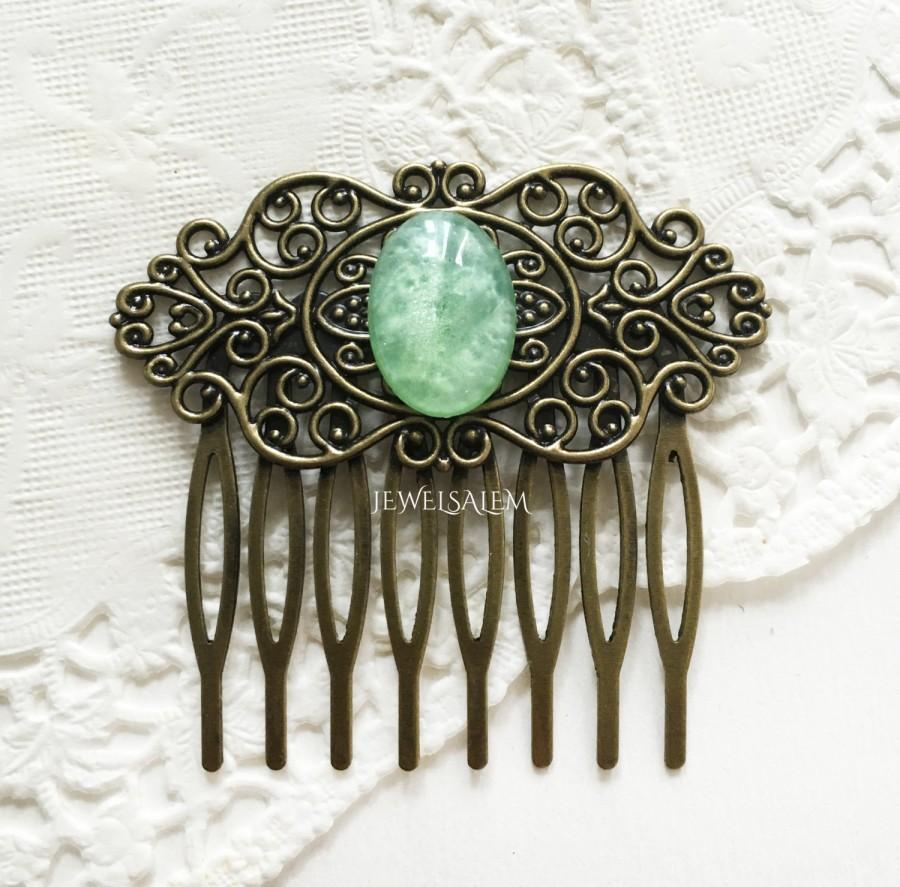 Mariage - Bridesmaids Hair Comb Mint Green Wedding Bridal Hair Slide Elegant Hair Comb for Bride with Intricate Details