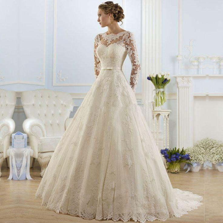 Свадьба - Backless Lace Long Sleeve Wedding Dress